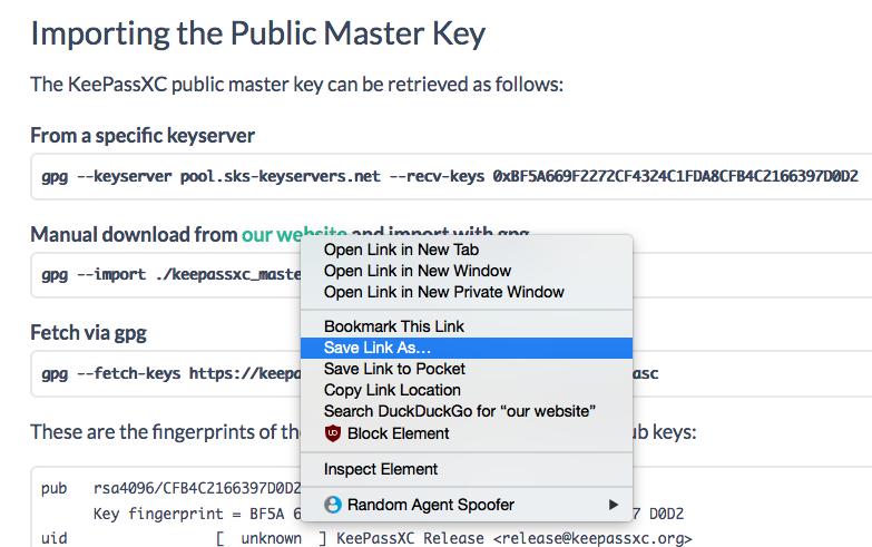 Download KeePassXC Master Public Key